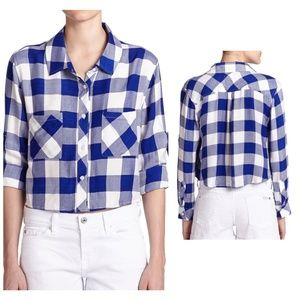 NWT Rails Rian Plaid Blue White Cropped Shirt XS
